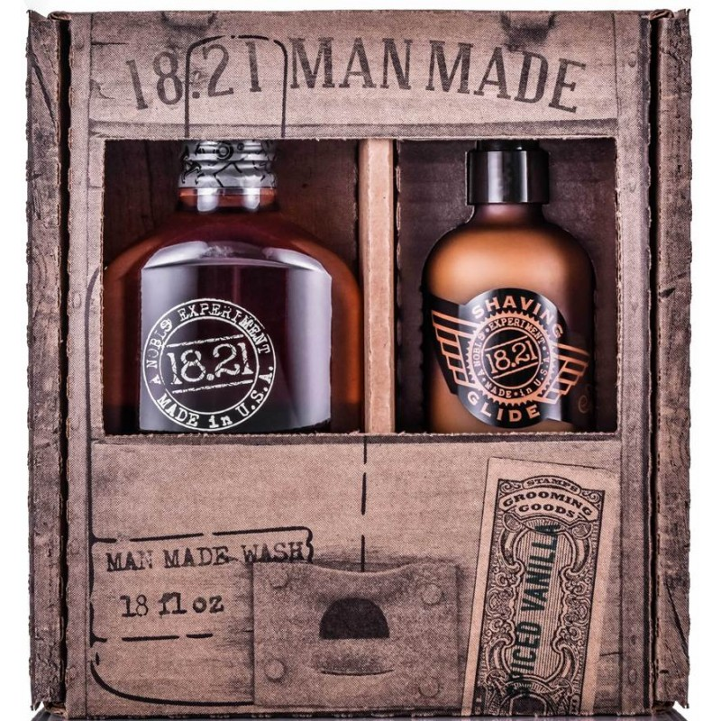 Bộ Combo 18.21 Man Made Spiced Vanilla Wash & Shaving Glide Gift Box